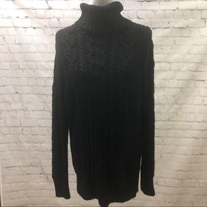 Gap Cable Knit Turtleneck Sweater Black